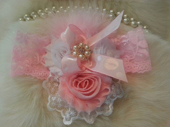Light Pink & White  Shabby Chic Headband
