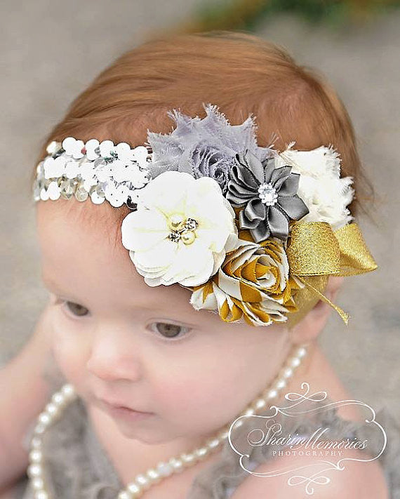 Silver & Gold Shabby Chic Headband