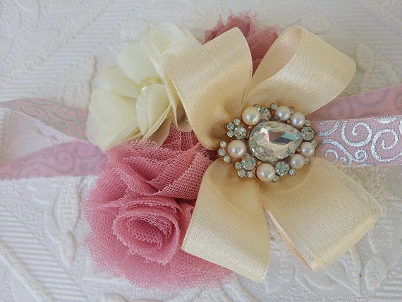 Blush & Ivory Shabby Chic Headband