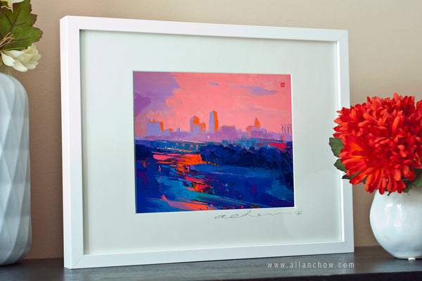 As the Blues Go By - Kansas City Skyline - Framed Paper Giclee