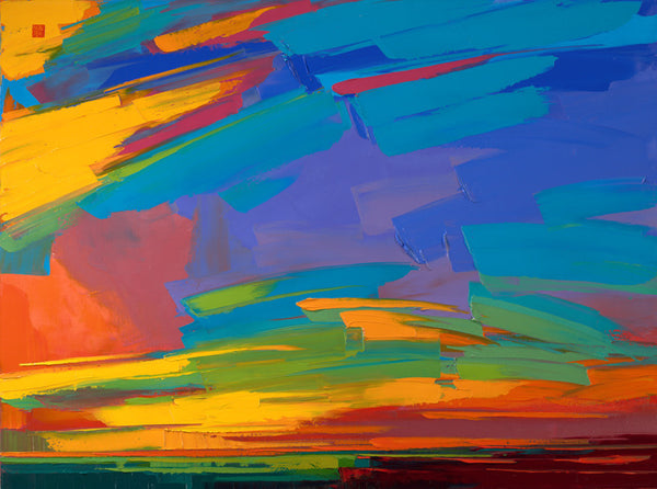 Giclee on paper - Burning Sky - 5in x 7in - in white mat