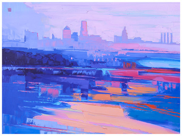 Giclee on canvas - By the River - 24x30in - Modern Landscape