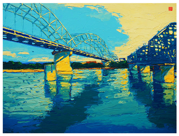 Giclee on canvas - Converging - 30x40in - Broadway Bridge - Kansas City
