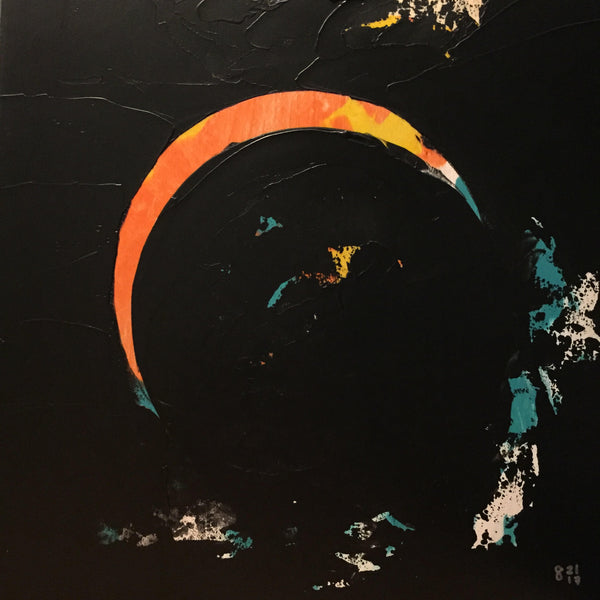 Giclee on canvas - Crescent Sun - Solar Eclipse - 24x24in - Modern Landscape