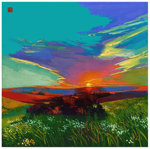 Giclee on canvas - Crimson in My Eyes - 30 x 30in - Modern Landscape