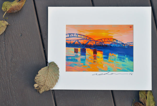 Giclee on paper - Dusk at Broadway Bridge - 5in x 7in - in white mat