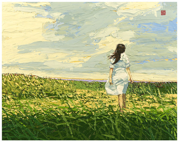 Faith - Girl in the Prairie - Framed Paper Giclee