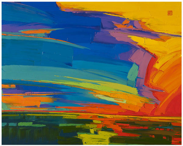 Giclee on paper - Fiery filled Sky - 24x30 - Modern Landscape