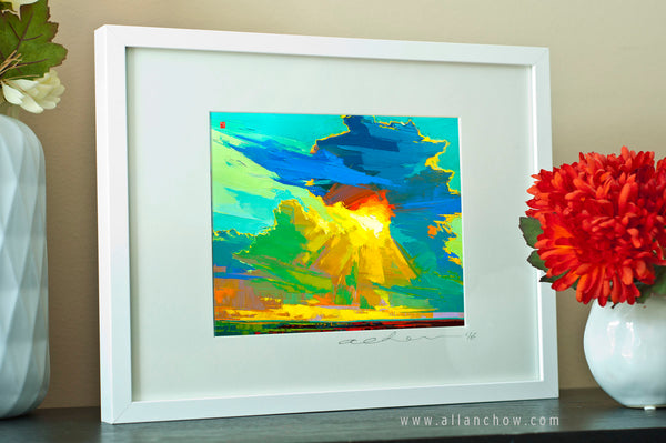 Happier - Abstract Landscape - Framed Paper Giclee
