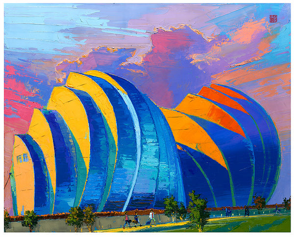 Giclee on canvas - Kauffman Center - 24x30in - Modern Landscape