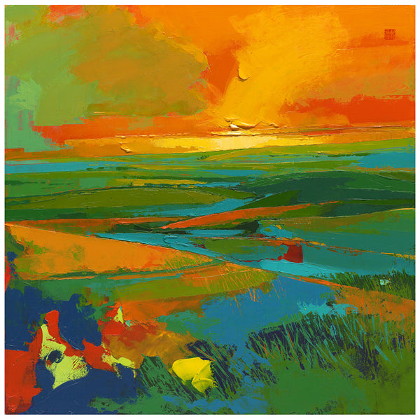 Giclee on canvas - Let the Embers Settle - 30 x 30in - Modern Landscape