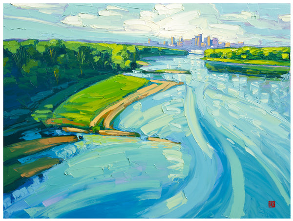 Giclee on paper - Morning Missouri - 24x30 - Modern Landscape