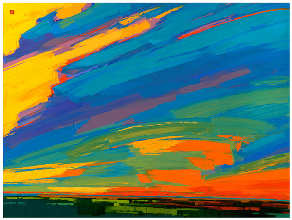 Giclee on paper - Prairie Sunrise - 5in x 7in - in white mat