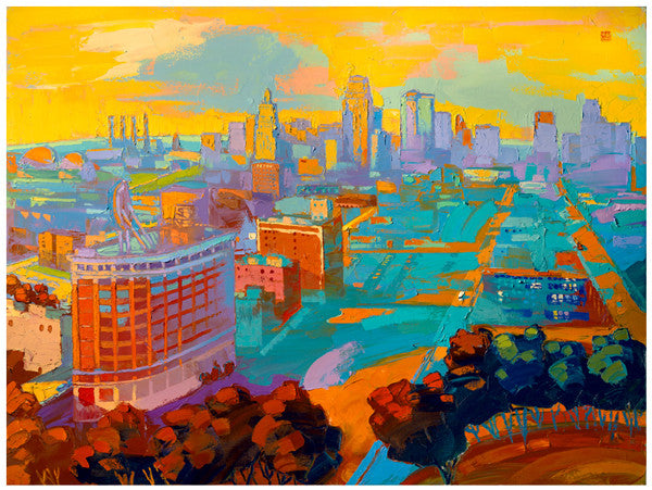 Giclee on paper - Safety of the Sunset - 24x30 - Kansas City Skyline