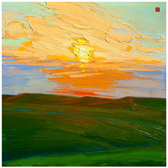 Giclee on canvas - Sundown in the Hills - 24x24in - Modern Landscape