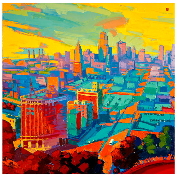 Giclee on canvas - Kansas City Skyline - 30 x 30in - Modern Landscape