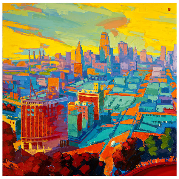 Giclee on paper - Sunset filled KC - 24x24 - Modern Landscape