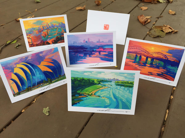Five Holiday Cards - Landscapes - 5in x 7in - White envelopes included