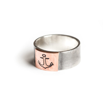 Silver Piston - Signet Ring Copper Anchor