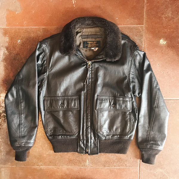 Vintage Leather Bomber Brown - Size 40