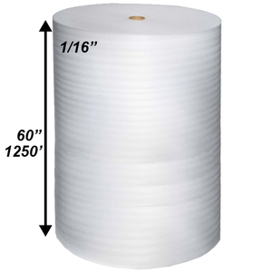 "1/16"" x 60"" x 1250' Poly Foam Rolls (Protective Packaging)"