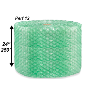 "1/2"" Green Bubble Roll, 24'' x 250' - PERF 12"""