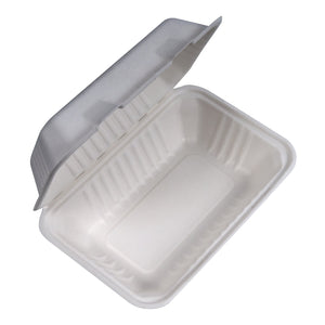 9x6x3 Bagasse Rectangle Clam 200/CS