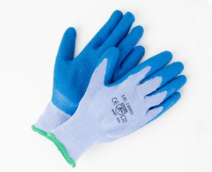 Blue Rubber Coated Gloves LARGE 12/PK