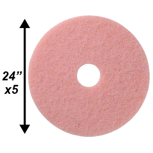 "PPC 24"" Pink Burnishing pad 5/cs"