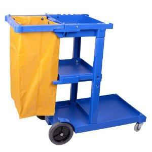 M2® Blue Janitor Cart with Zippered Bag - Yellow