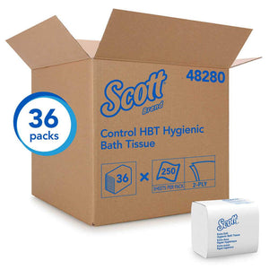 Scott® Control HBT Hygienic Interfold Bath Tissue 2 ply 36x250 Sheets/CS (48280)