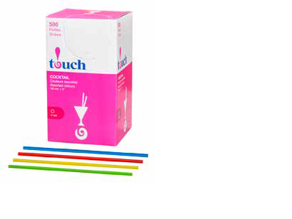 Touch® 4'' Cocktail Straws Assorted Colours 500/BX