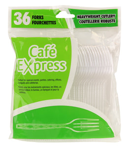 Café Express Clear Heavy Weight Plastic Forks 36/PK