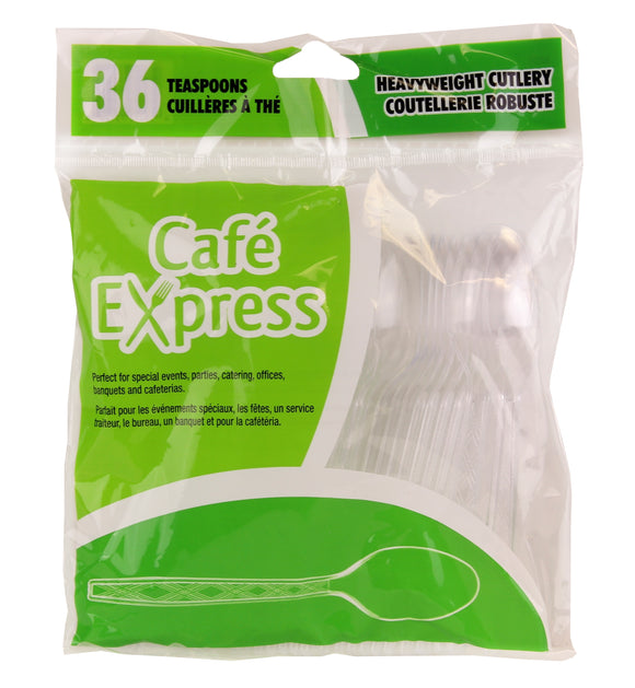 Café Express Clear Heavy Weight Plastic Teaspoon 36/PK