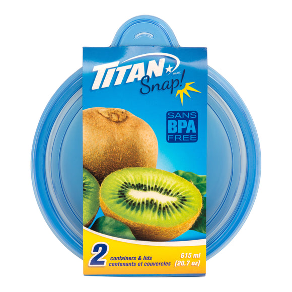 Titan Snap Round Food Container 615ml 2PCS/PK