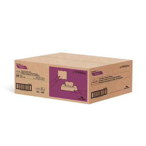 Cascades PRO Select™ Flat Box Facial Tissue, 30x100 Sheets (F950)