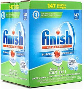 Finish Dishwasher Detergent Soap, All in 1 Powerball 147 Tablets