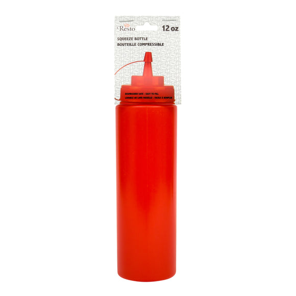 Conglom 8oz Red Squeeze Bottle With Lid 1/PK X 36/CS