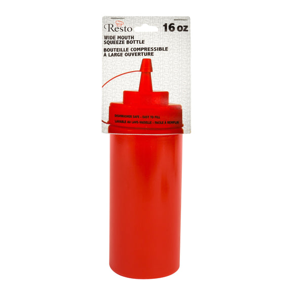 Conglom 16oz Red Wide Mouth Squeeze Bottle With Lid 1/PK X 24/CS