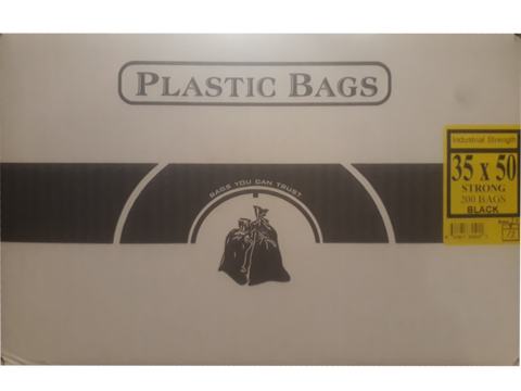 "35""x50"" Industrial Strong Black Garbage/Trash Bags - 200/CS"