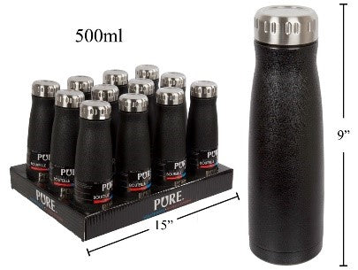 PURE 500ml Double Wall S.S. Bottle, Black Powder Coating