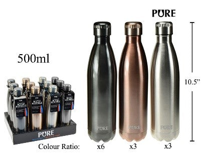 PURE, 500mL Metallic Bottle Insulated S Steel Collar Tag