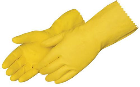 Yellow Small Rubber Gloves 12 Pairs/PKG