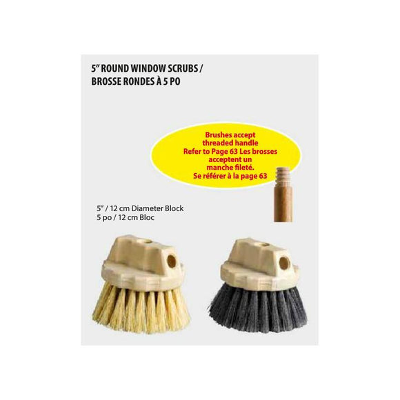 M2 Round Grey Window Brushes Plastic Block