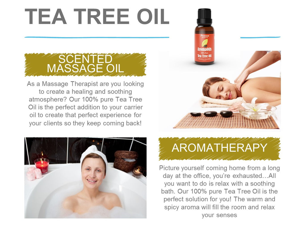 Tea Tree Oil by AromaOils - Pure Therapeutic Grade Melaleuca Oil - 1 fl oz (30 ml) - Best for Skin Tag Removal, Nail Fungus Treatment, Aromatherapy, Scented Massage Oil, Acne Reducer, Facial Toner