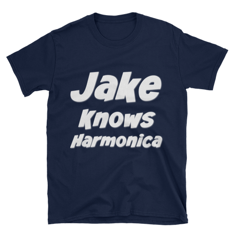Jake Knows Harmonica White Letter T-Shirt