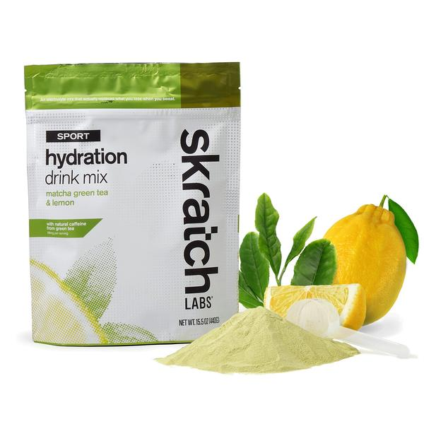 Skratch Labs - Sport Hydration Drink Mix, Matcha Green Tea & Lemon (avec/Caffeine)  - Mélange hydratation - 20 services