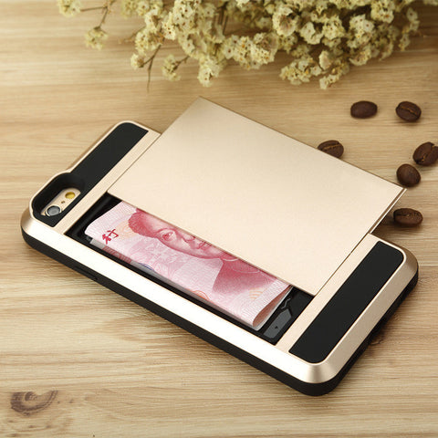 Drop Protection, IPhone 6 case,iPhone 6 Plus Case,Samsung S6,S6EDGE CASE,Champagne,Card Slot,Heavy Duty,Wallet,Damda Slide - top2case