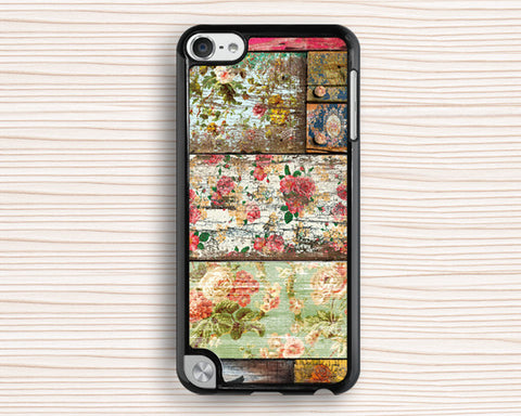 old wood floral ipod case,art wood grain ipod 4 case,gift ipod 5 cover,women's gift ipod touch 4 case,best present ipod touch 5 case