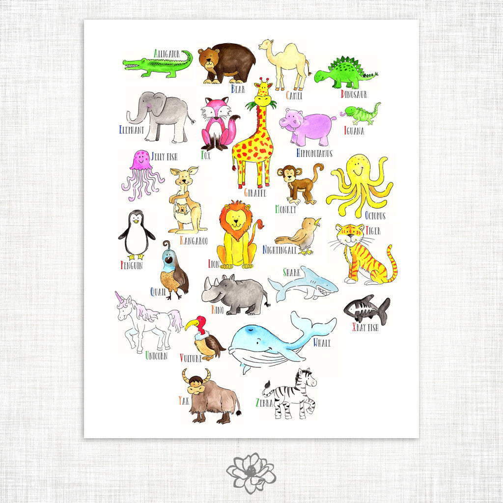Animal ABC Bright Art Print